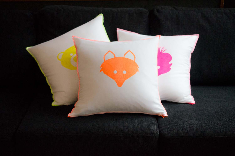 Bibs For Adults >> Neon Fox Pillow – Tiwi